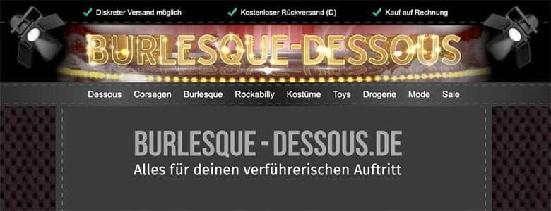 Burlesque Dessous Online Shop